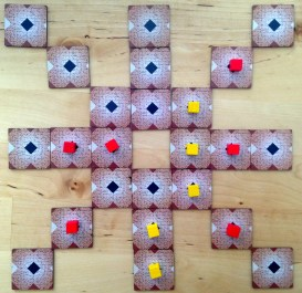 Game in progress, or more or less won by yellow player.